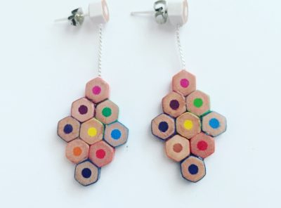 Big diamond pencil earrings