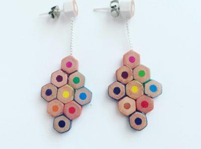 Big diamond pencil earrings