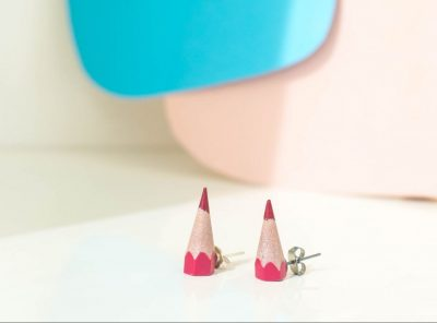Sharp earrings magenta